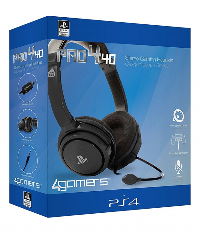 AUSCULTADORES GAMING Oficiais 4GAMERS PRO4-40 PS4
