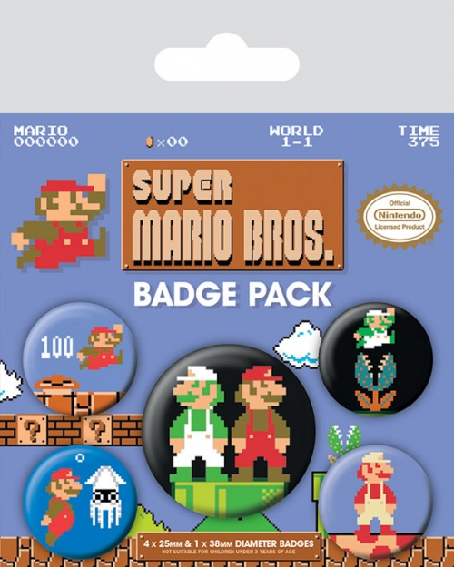 Pins SUPER MARIO Retro 2 Badge Pack (5 pins)