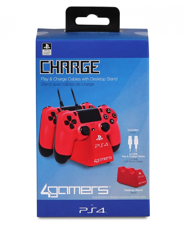 TWIN PLAY & CHARGE Oficial 4GAMERS Vermelho PS4