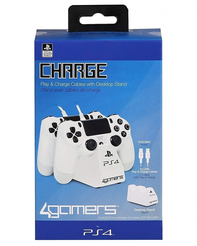 TWIN PLAY & CHARGE Oficial 4GAMERS Branco PS4