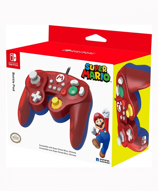 COMANDO Oficial HORI Battle Pad Mario Com Fios Switch
