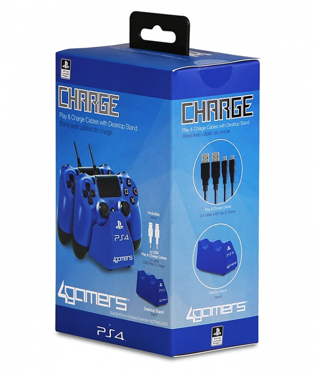 TWIN PLAY & CHARGE Oficial 4GAMERS Azul PS4